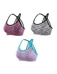 INIBUD Women's Sports Bra 1 or 3 Pack Wirefree Cross-Back Yoga Fitness Sports Bras