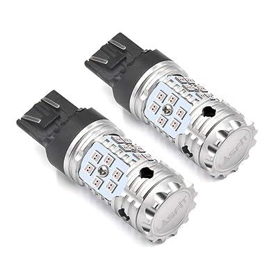 LASFIT 7443 7444 CANBUS LED Turn Signal Light Bulb, Error Free LED Bulbs, Red Light(2pcs): Automotive