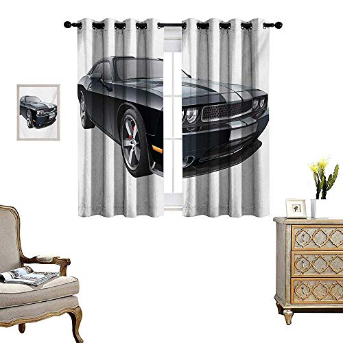 WinfreyDecor Cars Room Darkening Wide Curtains Black Modern Pony Car with White Racing Stripes Coupe Sports Dragster Print Customized Curtains W63 x L72 Black Grey White