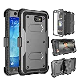 Galaxy J7 2017 Case, J7 Perx Case, J7 Sky Pro Case, Tinysaturn(TM) [Yvenus Series] [Gray] Shock Absorbing Holster Belt [Built-In Screen] Rubber Kickstand Case For Samsung Galaxy J7 2017 / J7 V For Sale