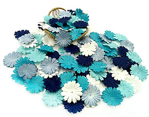 Flower Paper Embellishments (NAVA CHIANGMAI 100 Blue Color Tone Mulberry Daisy Flowers Scrapbooking Embellishment Making Doll House Supplies Card)