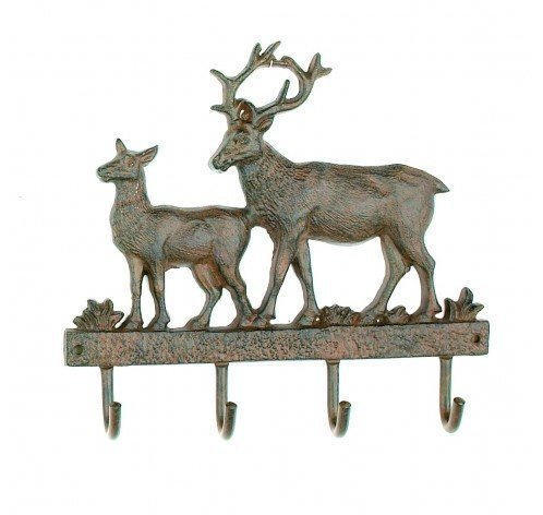 Cast Iron Deer Wall Key Rack Holder 4 Hooks Coat Hook Home Decor by Upper Deck