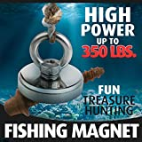 Fishing Magnet (350 lb), Powerful Neodymium Fishing Magnets, Enjoy Magnet Fishing with Durable Salvage Magnet, Earth Magnets, Fishing Magnets with Eyebolt, Super Magnetic