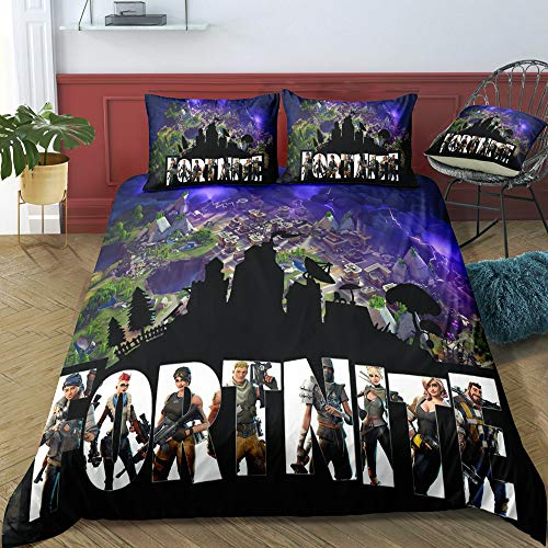 Colifull Fortnite Games Bedding Set Microfiber Quilt Bed Covers Twin|Full|Queen|King Size (A, Twin)