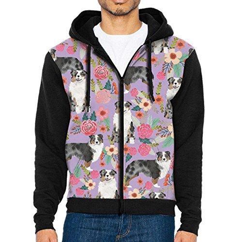Shepherd Fleece Sweatshirt - LOPH-DZ Men's Full-Zip Hooded Australian Shepherd Dog Floral Fleece Sweatshirt