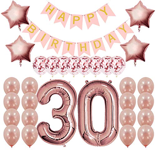 Rose Gold 30th Birthday Decorations Party Supplies Gifts for Women (Her), Dirty 30 Birthday Supply, Number 30 Foil Balloons,Birthday Banner,Confetti & Latex Balloons]()