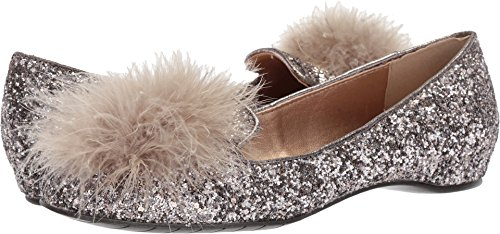 Kenneth Cole REACTION Women's Gen-ie Bottle Glitter Feather Pom Ballet Flat, Bronze, 8 Medium US