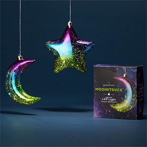 Cupcakes and cartwheels Moonlight - LED Light Up Hanging Mercury Glass Ornament ()