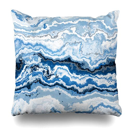 Ahawoso Throw Pillow Cover Eye Blue Marble Gem Stone Pattern Agate Botswana Nature Moss Mineral Brazilian Semiprecious Slice Home Decor Pillowcase Square Size 16