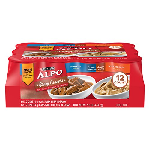 Purina ALPO Gravy Wet Dog Food Variety Pack; Gravy Cravers With Beef & With Chicken - (12) 13.2 oz. Cans ()