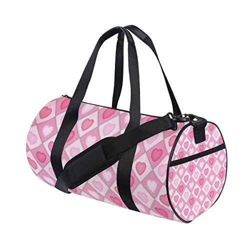 Pink and White Hearts Lightweight Canvas Sports Bag Travel Duffel Yoga Gym Bags by JIUMEI