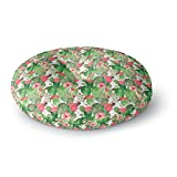 KESS InHouse Li Zamperini Cactus Dance Green Red Illustration Round Floor Pillow