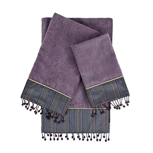 - Sherry Kline Silk Strie Lavender 3Piece Embellished Towel Set Silk Strie 3Piece Embellished Towel Set,Lavender
