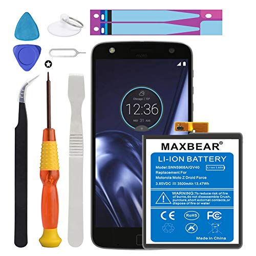 - Motorola GV40 Battery, MAXBEAR [3500mAh] Li-Polymer Built-in Battery SNN5968A Replacement for Motorola Moto Z Droid Force XT1650-2 with Repair Tool Kit.[1 Year Warranty]