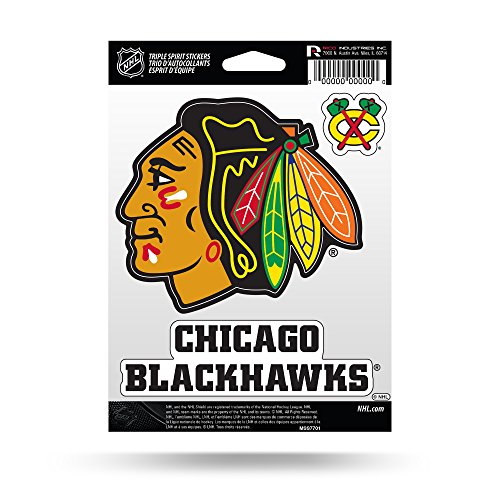 - Rico Industries NHL Chicago Blackhawks Die Cut 3-Piece Triple Spirit Sticker Sheet