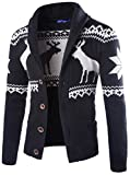 Product review for desolateness Men's Christmas Elk Print Loose Sweater Cardigan