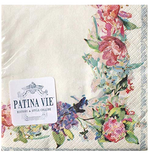 Patina Vie PV Floral Cream Paper Cocktail Beverage Napkins (0524), 36 ct ()