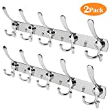 Whitgo Wall Mount Coat Hook, 2 Pack 15 Hooks Stainless Steel Coat Hangers Rack Robe Hat Clothes Hook Wall Coat Rack Hooks