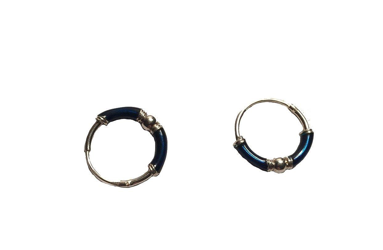 Sterling Silver Hoop Earrings with Blue Detail