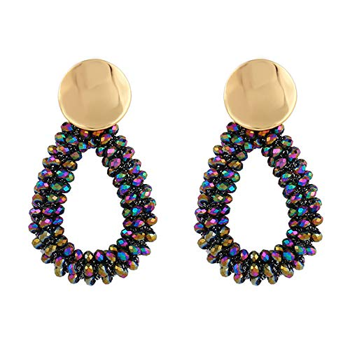 Stylebar Teardrop Beaded Earrings for Summer Bohemian Multicolor Bead Boho Drop Dangle Earring Handmade Jewelry for Women Girls Daily Wedding Party