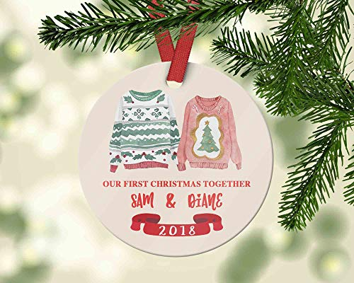 Personalized First Christmas Together Ornament with Ugly Sweaters Christmas Ornament for Boyfriend Tacky Decorations Joke Gift Christmas Decoration Funny Holiday Xmas Tree Hanging Crafts -
