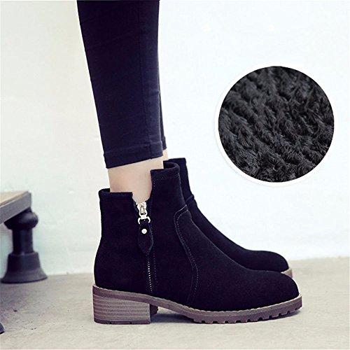 HXVU56546 Herbst Und Winter Schuhe Rauh Mit Seitlichem Reißverschluss Martin Stiefel Dicke Schüler Warme Baumwolle Stiefel black