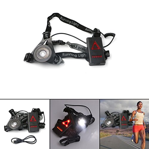 Rechargeable LED Lights Vest Runner Safty Waterproof Vest within Visibility 20M in Night (8 LED Light ) for Running & Cycling & Walking (Black)
