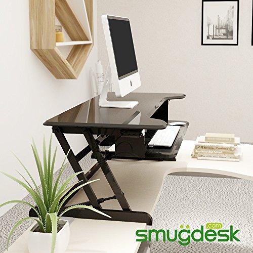 Standing Desk, Stand up Adjustable Desk Riser Converter for Desktop Laptop Dual Monitor by smugdesk (Image #7)