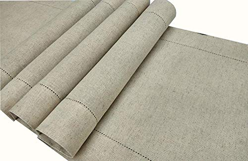 Linen Clubs - Flax Cotton Linen Looks Table Runner - Size 16x72 Natural - Hand Crafted and Hand Stitched Table Runner with Hemstitch Detailing