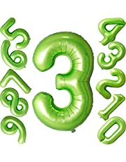 40 inch Green Number Balloons Helium Foil Balloon for Birthday Party Decorations Supplies (Number 3 Balloon)