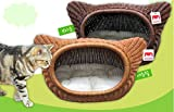 Green Pet Rattan Cat House Laon Natural