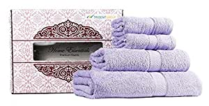 Trident Home Essentials Lavender Oil 4 Pcs Family Towel Gift Set