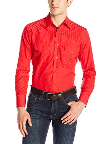 (Wrangler Men's Sport Western Two Pocket Long Sleeve Snap Shirt, Red, S )