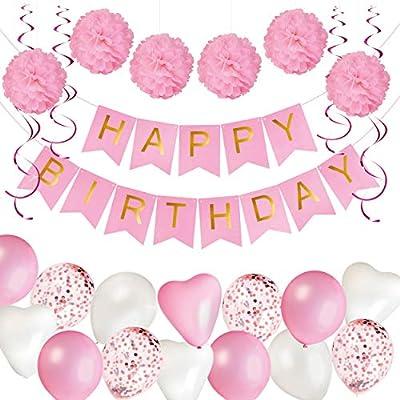KUUBIA Kit Decoración Fiesta Cumpleaños Niña - Pancarta Happy Birthday, Pompones de Papel, Globos, Globos Confeti, Serpentinas - Conjunto Rosa y Blanco para Celebración de Niña - Pack 43 Piezas: Amazon.es: Juguetes y juegos