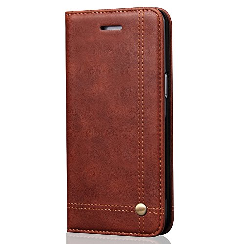 Iphone 5/5S/SE Case Leather Wallet Case with ID Credit Card Slot Holder Flip Cover Brown