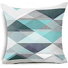 Pillow Case,Bokeley Cotton Linen Square Geometric Pattern Decorative Throw Pillow Case Bed Home Decor Cushion Cover (D)