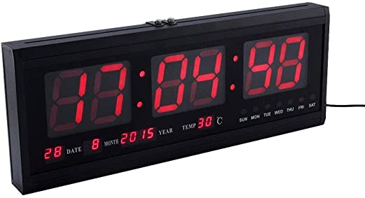 New Large Digital Jumbo LED Wall Desk Alarm Clocks Display Calendar Temperature