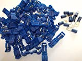 50 x Blue Scotchlok Terminals Connectors Quick Splice Snap Click Male Tab Spade Connection Crimp Wire With 10 Free 15amp Male Spade Terminals 1.5mm - 2.5mm (f)