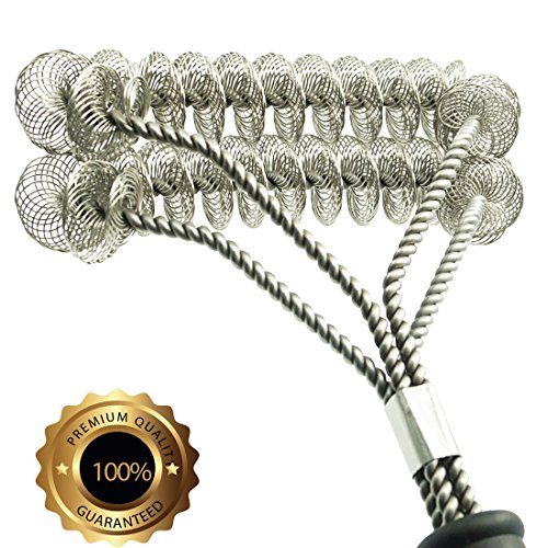 "Grill Brush Bristle Free- BBQ Grill Cleaning Brush And Scraper- Safe 18"" Weber Grill Cleaning Kit for Stainless Steel, Ceramic, Iron, Gas & Porcelain Barbecue Grates"