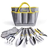 Jardineer 8PCS Gardening Tools Kit, Heavy Duty Garden Tools Set with Garden Bags, Aluminum Outdoor Hand Tools, Garden Gifts for Woman and Man