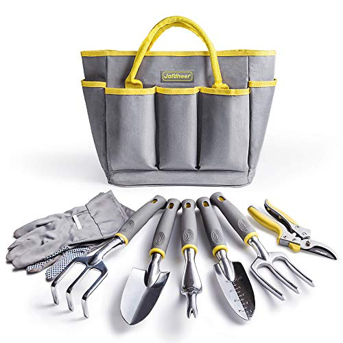 Jardineer Garden Tools Set, 8PCS Heavy Duty Gardening Tools Kit with Aluminum Hand Tools Set, Garden Gloves and Garden Tote Bag, Gardening Gifts for Men Women