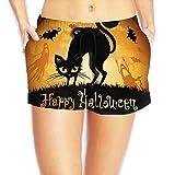 Halloween Black Cat Bat Women's Hot Pants Sexy Low Waist Beach Pants Quick Dry Swim Trunks Pocket