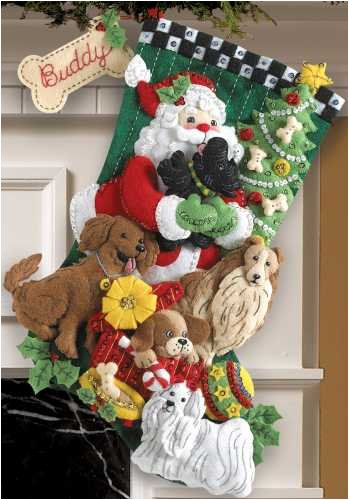 Bucilla 18-Inches Christmas Stocking Felt Appliqué Kit, 86054 Santa Paws Plaid Inc