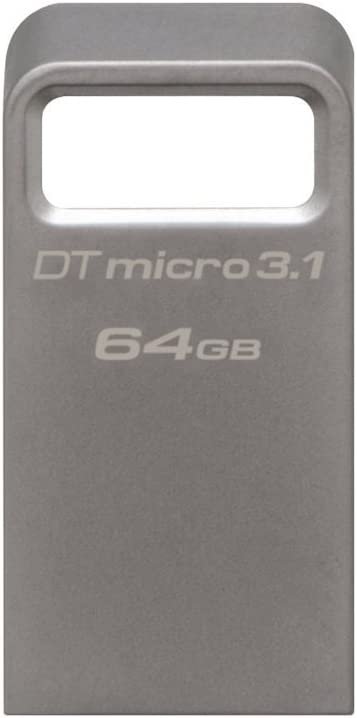Kingston DataTraveler Micro 3.1 64GB USB 3.0 Compatible Hi-Speed up to 100MB/s Ultra-Small Metal Case Flash Drive (DTMC3/64GB) - Silver