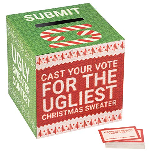 Ugly Sweater Ballot Box and Cards Set - 1 Vote Box with 50 Ballots, Christmas Party Contest Supplies, Holiday Ugliest Sweater Award Fun Activity Game, Red and Green, Large 10 x 10 Inches]()