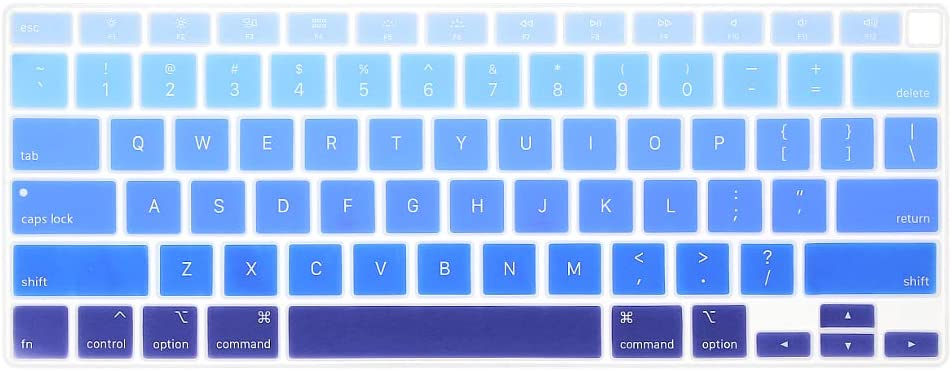 ProElife Ultra Thin Silicone Keyboard Cover Skin for MacBook Air 13 Inch 2020 with Touch ID (MODLE: A2179, US Layout) Keyboard Accessories Protector (NOT FIT 2018-2019 Air 13'') (Ombre Blue)