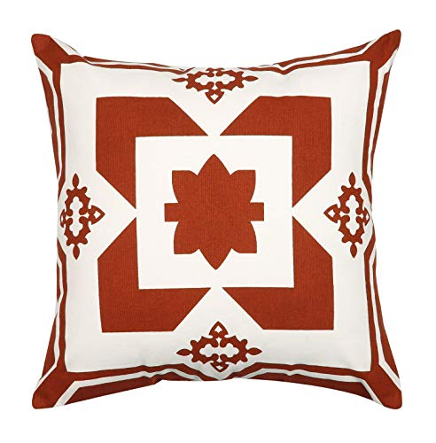 Light & Pro Square Printed Cotton Cushion Cover,Throw Pillow Case, Outdoor Cushion Covers,Slipover Pillowslip for Home, Sofa, Couch,Bed, Chair Back Seat, Set of 4-18x18 inch - Rust - Only Cover -  - patio, outdoor-throw-pillows, outdoor-decor - 5122qOBgY1L -