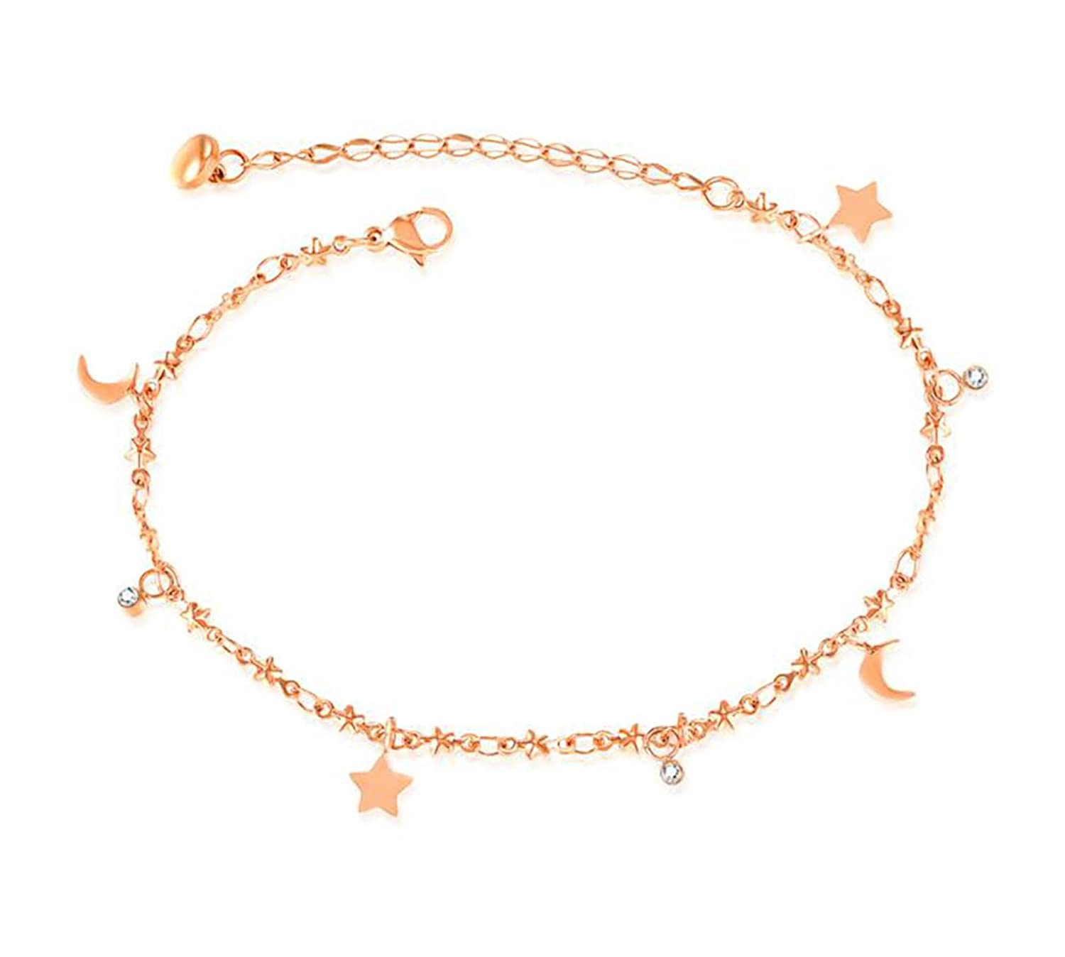 Bystar Women's Anklet Sweet Star and Moon Shaped Pendant Anklet