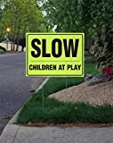 Slow, Children At Play - 18'' X 24'' Fluorescent Picket Sign with Sign Stand. (Pack of 5)