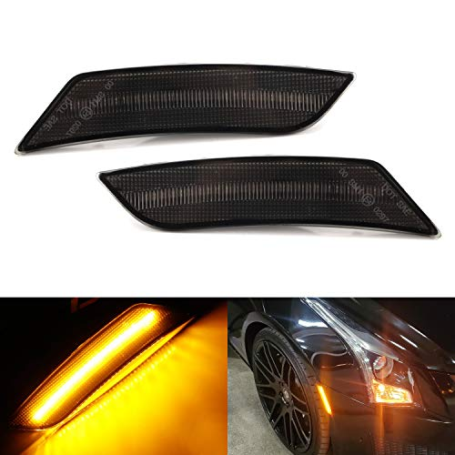 iJDMTOY Smoked Lens Amber LED Bumper Side Marker Light Kit Compatible With 2013-2014 Cadillac ATS, 2017-up Cadillac XT5, 2019-up Chevy Blazer, Powered by 27-SMD LED, Replace OEM Front Sidemarkers